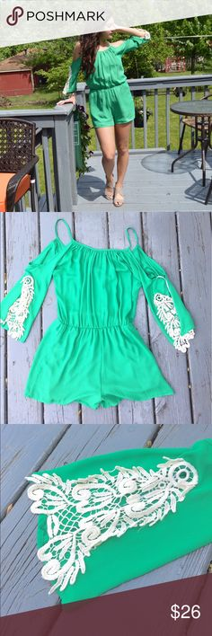 Mod | Cold Shoulder Romper Green cold shoulder romper. Size small. Lace detail on sleeves. My stats: 5'6, 120lbs (so if you're anywhere near that it'll fit perfectly!) Cinched around waist with space for a larger or smaller size. Material: 100% polyester. 📬Fast Shipping📬🥂10% Off 2+ Items🥂 Mod Pants Jumpsuits & Rompers