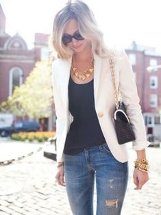 White blazer over jeans and gold acessories blazer fashion, blazer outfits, Blazer Jeans, Holey Jeans, Ripped Jeans, Cream Blazer Outfit, Trouser Jeans, Faded Jeans, Skinny Jeans, Leather Blazer, Denim Jeans