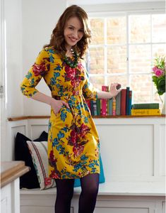 I like it but doubt I would like it on me! haha but LOVE the mustard Joules LEILA Womens Printed Floral Dress, Yellow. A season of brightness beckons! Just add tights and a pair of boots and turn heads like there's no tomorrow. Joules Dresses, Dress Skirt, Dress Up, Yellow Dress, Modest Fashion, Beautiful Outfits, Dress Outfits, Style Inspiration, My Style