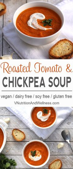 Roasted Tomato and Chickpea Soup | This vegan Roasted Tomato Chickpea Soup is the perfect creamy soup to warm you on those chilly nights! via /VNutritionist/