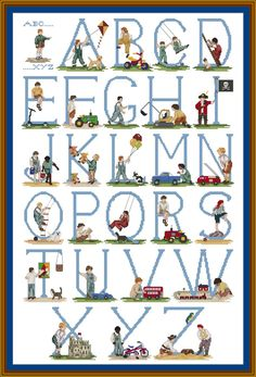 Boys Cross stitch Alphabet Kit