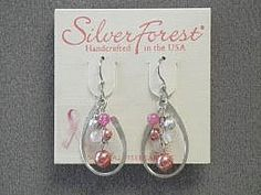 Handcrafted mixed metal breast cancer awareness earring collection n8