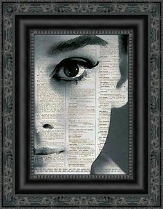 Audrey Hepburn Dark Audrey Dictionary Art par reimaginationprints, $10.00