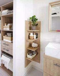 Create a small bathroom: the 10 good ideas for sewing - Côté Ma . Create a small bathroom: The 10 good ideas for sewing - Côté Ma . - Create a small bathroom: The 10 good ideas for sewing - Côté Ma… - - # Côté Corner Furniture, Diy Casa, Small Bathroom Storage, Small Storage, Small Bathroom Cabinets, Bathroom Corner Shelf, Corner Mirror, Corner Vanity, Small Space Bathroom