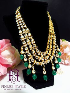 Green Kundan Necklace Set,Kundan Necklace,Indian Necklace,Indian Earrings,Kundan Jewelry,Indian Jewelry,High Quality Indian Bridal Jewelry  Exquisite Sparkling Stunning Green Kundan Multi Layer Haar Style Necklace set. Style this as a Princess necklace or a Haar choice is yours. You can wear it with Plain color dress as a statement piece or as perfect Necklace Piece for Formal Parties, Mehndi, Henna, Dholki, Engagement, Walima or Wedding. Comes with lovely Long earrings which can be worn…