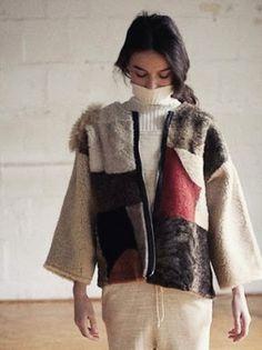 milena silvano sheepskin jacket with giu giu knitwear