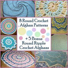10 Round Crochet Afghan Patterns + 7 Bonus Round Ripple Crochet Afghans | AllFreeCrochetAfghanPatterns.com