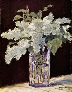 Édouard Manet, White Lilacs in a Crystal Vase, 1882, Oil, 22 x 13.7 inches, Private Collection