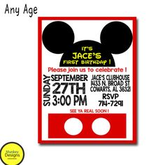 MICKEY MOUSE BIRTHDAY Invitation Mickey Mouse By MunkeyDesigns