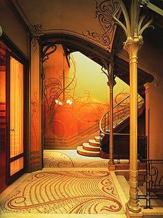 Tassel House, by Victor Horta.  Art Nouveau. Bay window on exterior, organic shapes, wrought iron used in various organic shapes in ornamentation.