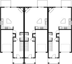 4 plex plans 3 bedroom fourplex house plans f 534 for Triplex plans for narrow lots