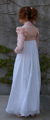 An Embroidered Regency Dress with a Pink Silk Spencer