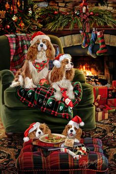 """New for 2014! Cavalier King Charles Spaniel Christmas Holiday Cards are 8 1/2"""" x 5 1/2"""" and come in packages of 12 cards. One design per package. All designs include envelopes, your personal message, and choice of greeting.Select the inside greeting of your choice from the menu below.Add your custom personal message to the Comments box during checkout."""