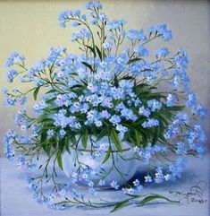 Forget-me-nots, When I was a Little Girl these were my favorite flowers. Amazing Flowers, Blue Flowers, Beautiful Flowers, Art Floral, Blue Garden, 5d Diamond Painting, Flower Basket, Vintage Flowers, Flower Decorations