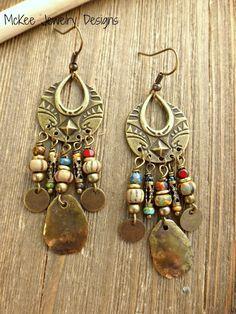 Czech glass, bronze metal earrings. Dangle, chandelier earrings. #jewelry #jewellery #handmade #bohemian #fashion #accessories #bohemianjewelry Handmade, handcrafted artisan, beaded jewelry, jewellery. Boho, Bohemian, indie, Victorian, Bridal Andria Bieber Designs.