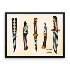 Knives Tattoo Flash Framed Poster