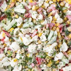 Cauliflower Cucumber Corn Salad - Valentina's Corner Corn And Cucumber Salad Recipe, Corn Salad Recipes, Cucumber Recipes, Corn Salads, Cauliflower Salad, Cauliflower Recipes, Asian Ramen Salad, Chicken Wild Rice Soup, Salads