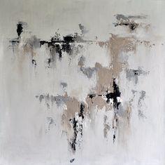 Pintura abstracta original gris Beige blanco 28 x por AbstractArtM