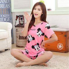 Envío gratis nuevos pijamas para las mujeres conjuntos de pijamas de Dibujos Animados encantadora pijamas de verano de manga corta Ocasional de la muchacha Linda ropa de dormir traje