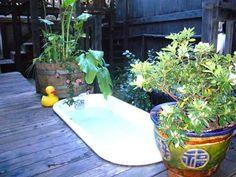 outdoor sunken claw foot tub