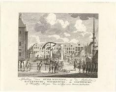 Anonymous | Verovering van de Kattenburgerbrug, 1787, Anonymous, 1787 | De verovering van de Kattenburgerbrug naar het eiland Kattenburg op de opstandige Oranjegezinden door de gewapende Amsterdamse burgers, 30 mei 1787.