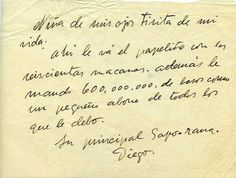 Una de las cartas de amor que Diego Rivera le envió a Frida Kahlo.  One of the love letters from Diego Rivera to Frida Kahlo.