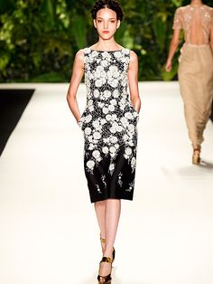 Trends for Spring - elaborate bloom embroidery in striking black and white lets you wear flowers elegantly.
