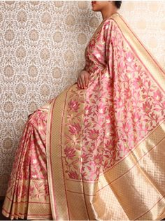 Beige Brocade Saree with all over resham lotus motif