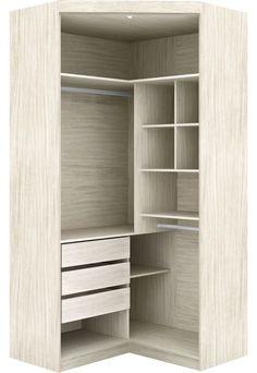 Virtual Closet Corner Wardrobe 2 Doors With Mirror And Drawers Rovere Robel - Corner Wardrobe, Wardrobe Room, Wardrobe Design Bedroom, Closet Bedroom, Cheap Closet, Simple Closet, Small Closet Space, Small Closets, Ikea Closet Storage