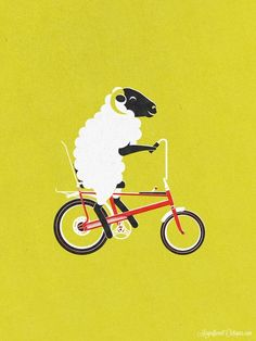 Lamb Chopper by magnificent octopus via bicyclestore #Sheep #Bicycle #Illustration #magnificentoctopus #bicyclestore