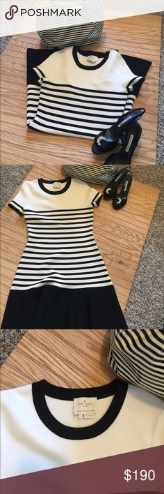 "New Kate Spade Stretch Knit Scuba Dress Black White casual dress size small  Highly Sought after Kate Spade New York Striped ""Fancy Meeting You"" Stretch Knit Scuba Dress  New without tags  Black/cream kate spade Dresses Mini"