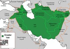 Map showing the geographic, political (partial), and cultural reach of Persia (Iran), and the Iranic peoples corresponding to the modern day Greater Iran