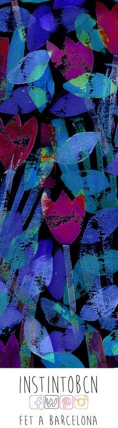 Punto de libro con el estampado Tulipes #Bookmark #InstintoBcn #PuntDeLlibre