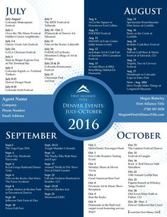 Things to do in Colorado: July, August, September and October of 2016