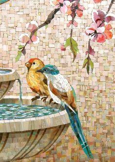Mosaic birds on a bird bath Mosaic Tile Art, Mosaic Artwork, Pebble Mosaic, Mosaic Crafts, Mosaic Projects, Mosaic Mirrors, Mosaic Ideas, Paper Mosaic, Mosaic Animals