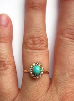 Antique Victorian Turquoise and Diamond by magwildwoodscloset