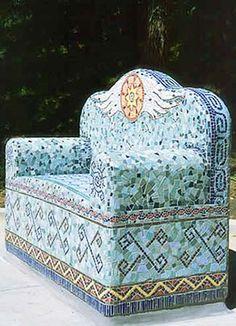 'True' mosaic. Pat's Bench. Laurel True.