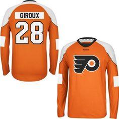 Mens Philadelphia Flyers Claude Giroux Reebok Orange Edge Long Sleeve Jersey  T-Shirt 545b84b25