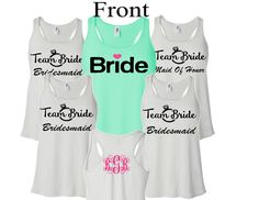 5 PC PERSONALIZED wedding tank set,bridesmaid gift,maid of honor gift,monogram for wedding,wedding shirts,bachelorette party,bride tribe by CayShaeDesigns on Etsy