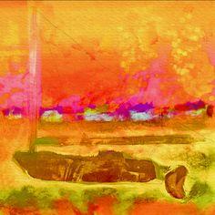 abstract watercolor sailboat