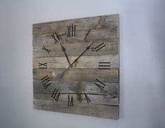 Reclaimed & Rustic LARGE Gray Pallet Wood Clock. CUSTOM.  Natural.  Raw Wood.  Repurposed Wood.