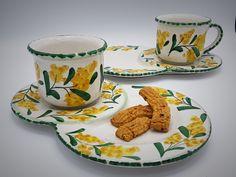 Ceramic breakfast set for two, mimosa decoration.  Ketty Messina pottery di ceramichemessina su Etsy