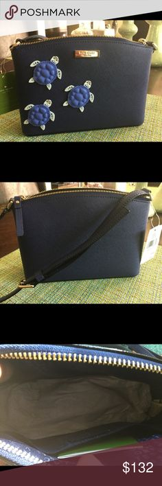 Kate spade cross body bag Navy blue leather bag gold tone hardware & logo plate on front gold tone 3 of the cutest two tone blue turtles on the front. Bag measurement 9 across 6 1/2 high adjustable strap . Summer must Have kate spade Bags Mini Bags
