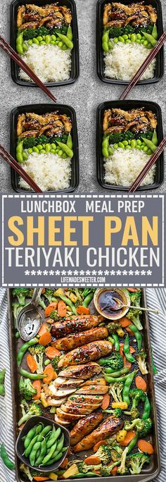One Sheet Pan Teriyaki Chicken makes the perfect easy weeknight meal that is even better than your local Japanese takeout restaurant! Best of all, its full of authentic flavors and super easy to make with just 10 minutes of prep time. Skip the takeout men Lunch Meal Prep, Healthy Meal Prep, Healthy Eating, Weekly Meal Prep, Clean Eating, Make Ahead Meals, Easy Weeknight Meals, Lunch Recipes, Cooking Recipes