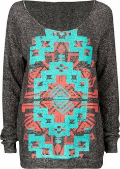 $24.99 Grey crewneck with coral and teal tribal print