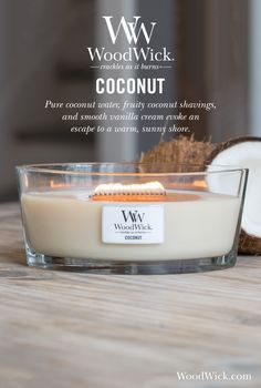 Pure coconut water, fruity coconut shavings and smooth vanilla cream that evoke an escape to a warm, sunny shore. WoodWick® candles use a natural, wooden wick that creates the soothing sound of a crackling fire #coconut #fruity #fragrance #woodwick #candle #crackles