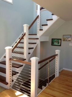 Interesting Indoor Wood Stairs Design Ideas You Never Seen Before. If you are looking for Indoor Wood Stairs Design Ideas You Never Seen Before, You come to the right place. Cable Stair Railing, Loft Railing, Railing Design, Staircase Design, Railing Ideas, Stair Design, Wood Staircase, Staircase Remodel, Staircase Makeover