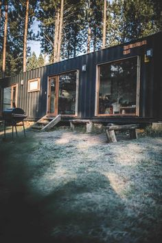 Shipping Container House Coyhaique, Chile - Living in a Container Shipping Container Cabin, Cargo Container Homes, Container House Design, Shipping Container Buildings, Container Houses, Shipping Containers, Container Architecture, Sustainable Architecture, Chile