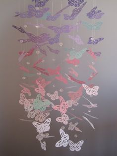 Purple Pink White and Mint Butterfly Mobile with Crystal Beads - Child/Nursery… Mint Nursery, Nursery Room, Baby Room, Nursery Ideas, Butterfly Baby Shower, Butterfly Mobile, Girls Princess Room, Big Girl Rooms, Art Wall Kids