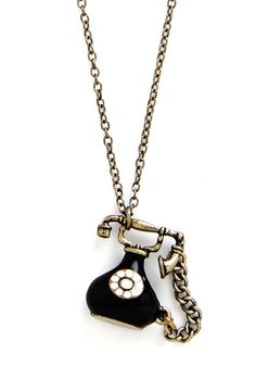Call on Me Necklace - Solid, Chain, Quirky, Gold, Exclusives, Black, Vintage Inspired
